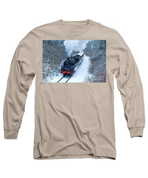 Steam Locomotive 73129 In Snow Long Sleeve T-Shirt