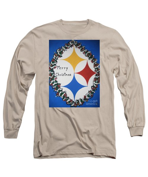 Long Sleeve T-Shirt featuring the painting Steelers Christmas Card by Jeffrey Koss
