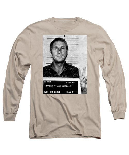 Steve Mcqueen Mug Shot Vertical Long Sleeve T-Shirt