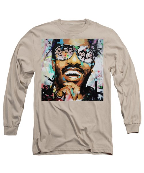 Stevie Wonder Portrait Long Sleeve T-Shirt by Richard Day