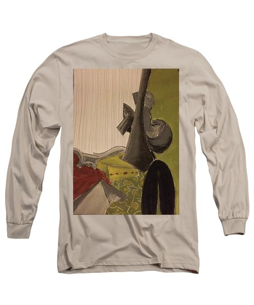 Still Life With A Black Horse- Cubism Long Sleeve T-Shirt by Manuela Constantin