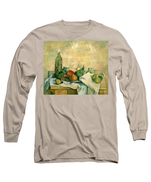 Still Life With Bottle Of Liqueur Long Sleeve T-Shirt by Paul Cezanne