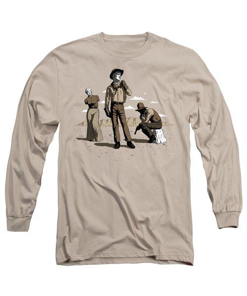 Long Sleeve T-Shirt featuring the digital art Stone-cold Western by Ben Hartnett