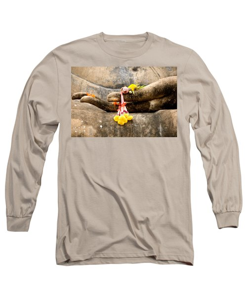 Stone Hand Of Buddha Long Sleeve T-Shirt by Adrian Evans