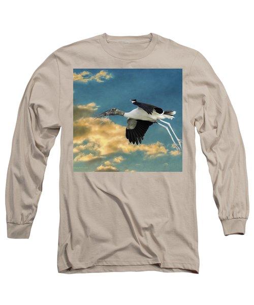 Stork Bringing Nesting Material Long Sleeve T-Shirt