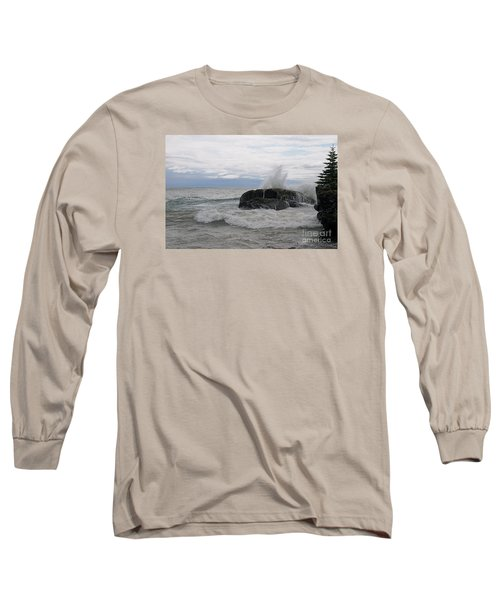 Long Sleeve T-Shirt featuring the photograph Stormy Morning On Superior by Sandra Updyke