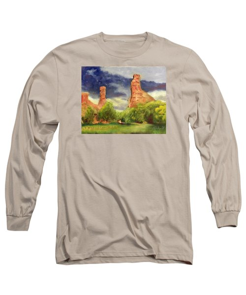 Long Sleeve T-Shirt featuring the painting Strawberry Pinnacles by Sherril Porter
