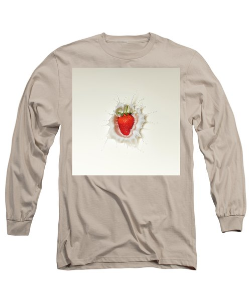 Strawberry Splash In Milk Long Sleeve T-Shirt