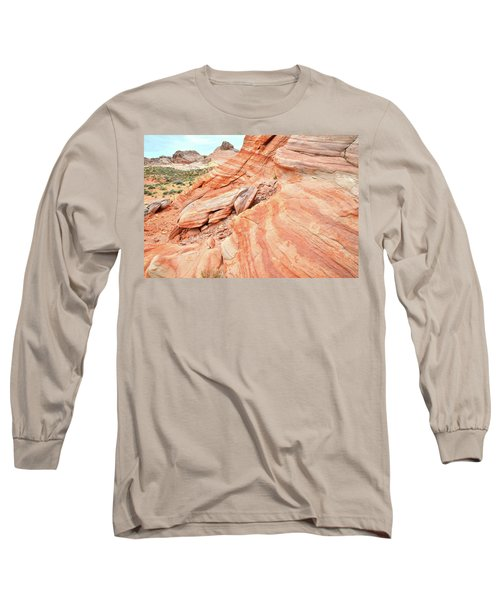 Long Sleeve T-Shirt featuring the photograph Striped Sandstone Along Park Road In Valley Of Fire by Ray Mathis