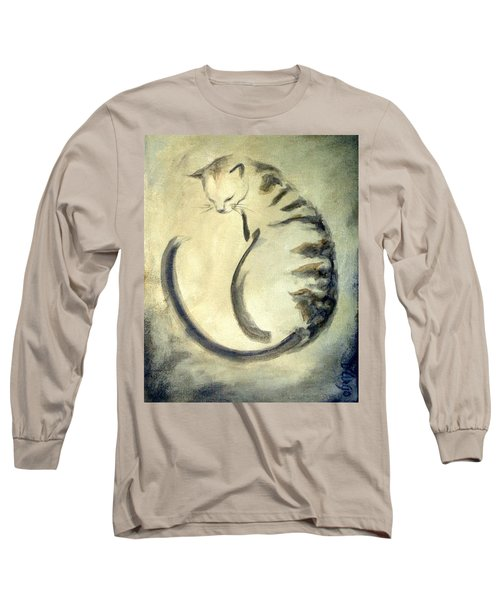 Stripey Cat 1  Long Sleeve T-Shirt by Dina Dargo