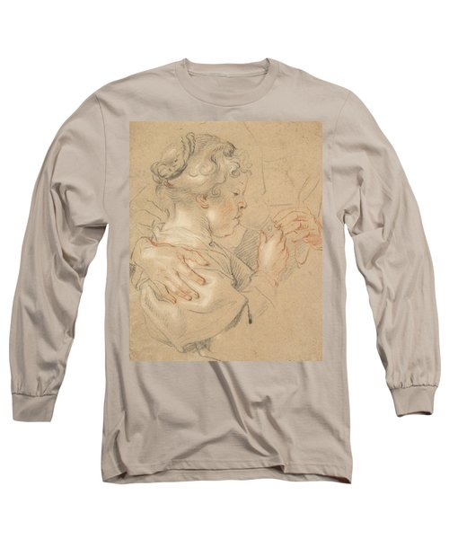 Study Of A Young Girl Drinking From A Glass Long Sleeve T-Shirt