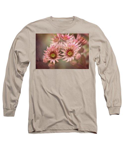 Succulent Flowers - 365-100 Long Sleeve T-Shirt by Inge Riis McDonald