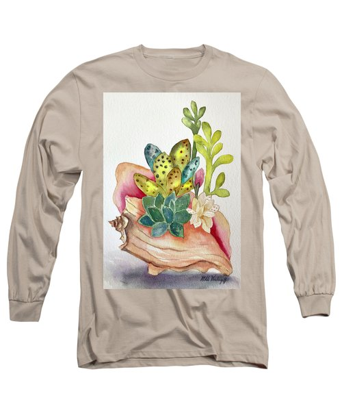 Succulents In Shell Long Sleeve T-Shirt