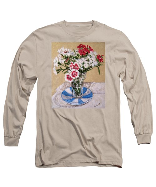 Long Sleeve T-Shirt featuring the painting Summer Flowers by Laura Aceto