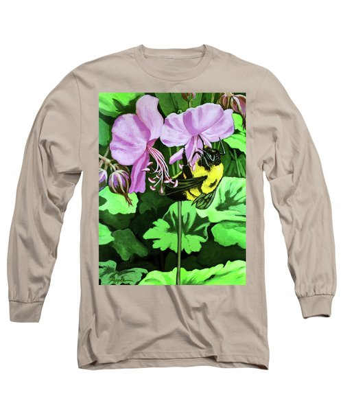 Long Sleeve T-Shirt featuring the painting Summer Garden Bumblebee And Flowers Nature Painting by Linda Apple