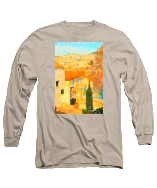Long Sleeve T-Shirt featuring the painting Summer In Athens by Chris Armytage