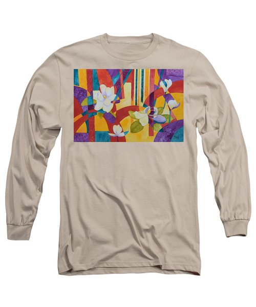 Long Sleeve T-Shirt featuring the painting Summer Magnolias by Nancy Jolley
