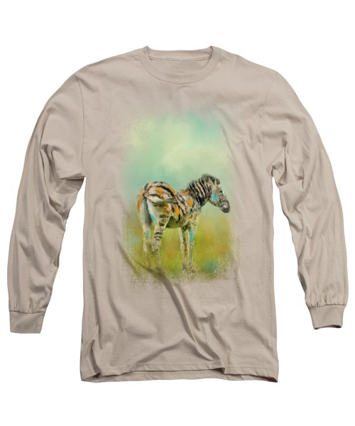 Summer Zebra 1 Long Sleeve T-Shirt by Jai Johnson