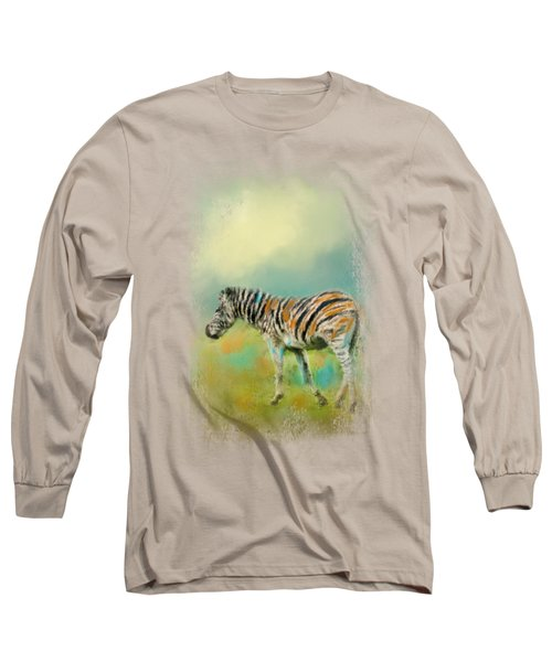 Summer Zebra 2 Long Sleeve T-Shirt by Jai Johnson