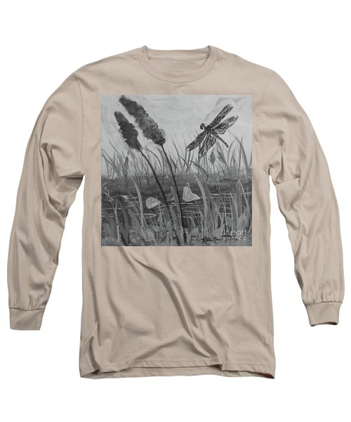 Long Sleeve T-Shirt featuring the painting Summertime Dragonfly Black And White by Robin Maria Pedrero