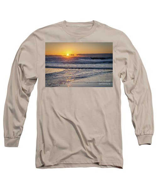 Sun Behind Clouds With Beach And Waves In The Foreground Long Sleeve T-Shirt