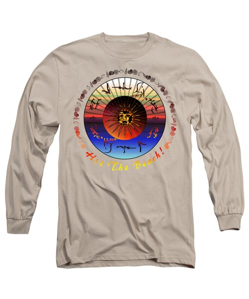 Sun Face Stylized Long Sleeve T-Shirt by Robert  G Kernodle