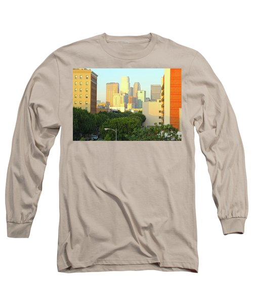Sun Sets On Downtown Los Angeles Buildings #1 Long Sleeve T-Shirt