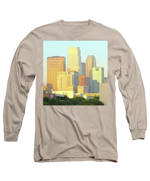 Sun Sets On Downtown Los Angeles Buildings #2 Long Sleeve T-Shirt