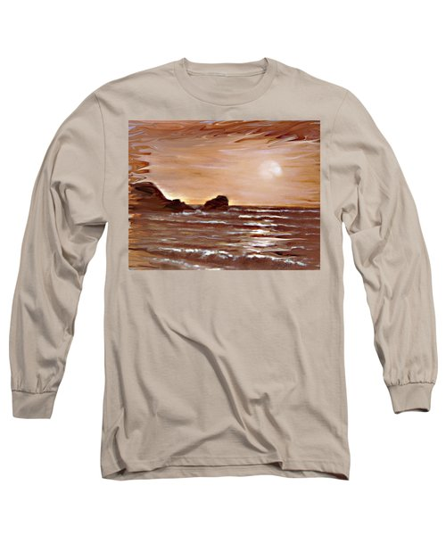 Long Sleeve T-Shirt featuring the painting Sundown Glow by Desline Vitto
