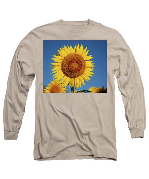 Sunflower And Blue Sky Long Sleeve T-Shirt by Nancy Landry