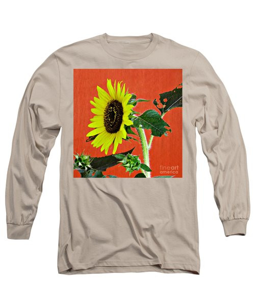 Long Sleeve T-Shirt featuring the photograph Sunflower On Red 2 by Sarah Loft