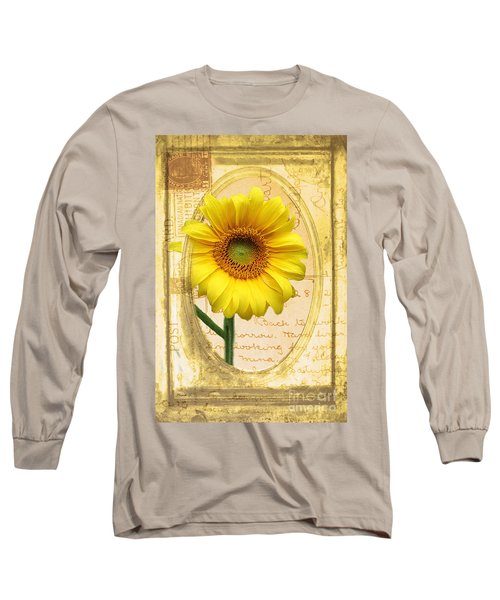 Sunflower On Vintage Postcard Long Sleeve T-Shirt by Nina Silver