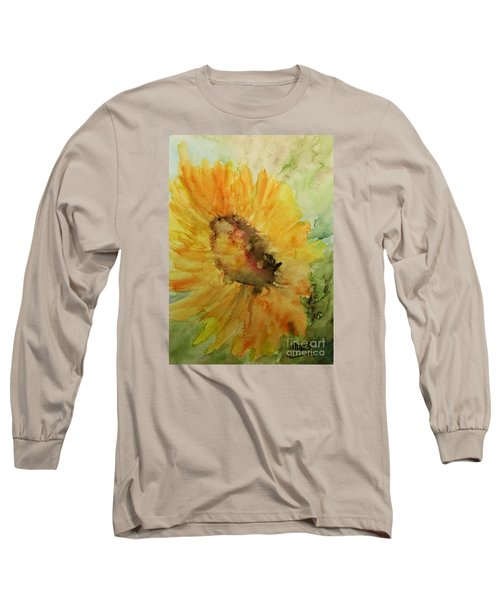 Sunflower Watercolor Long Sleeve T-Shirt by AmaS Art