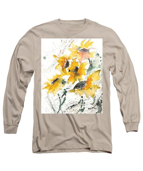 Long Sleeve T-Shirt featuring the painting Sunflowers 10 by Ismeta Gruenwald