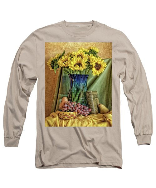Sunflowers And Blue Vase Long Sleeve T-Shirt