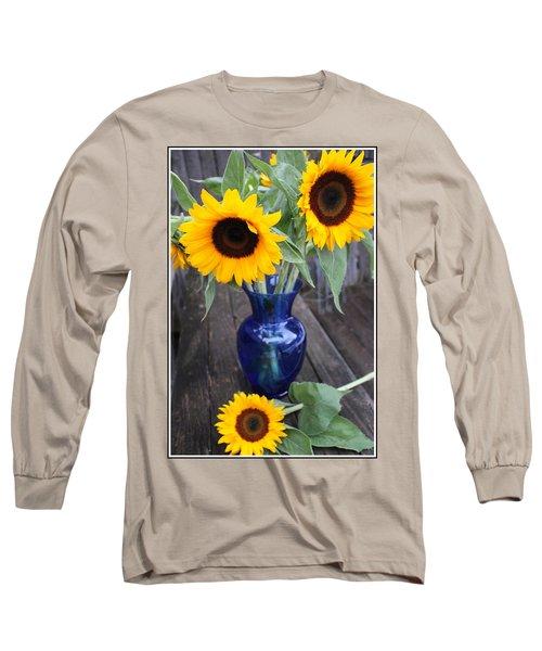 Sunflowers And Blue Vase - Still Life Long Sleeve T-Shirt