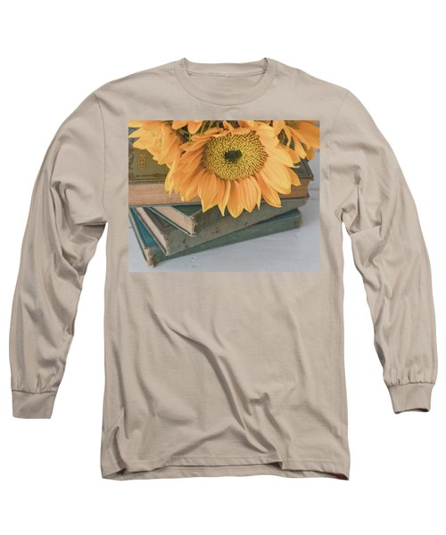 Long Sleeve T-Shirt featuring the photograph Sunflowers And Books by Kim Hojnacki