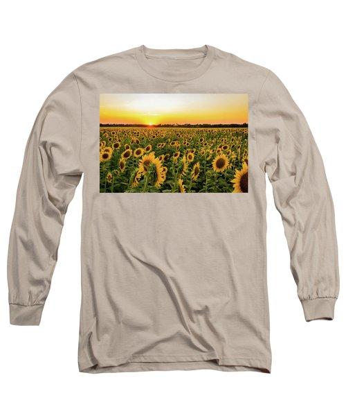 Sunflowers At Sunset Long Sleeve T-Shirt