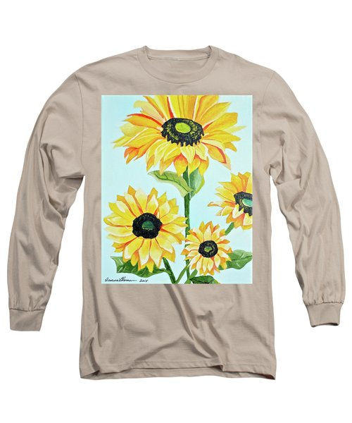 Long Sleeve T-Shirt featuring the painting Sunflowers  by Donna Blossom