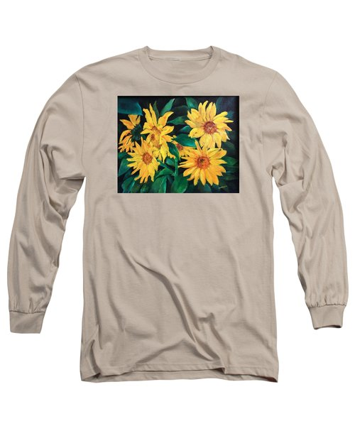Long Sleeve T-Shirt featuring the painting Sunflowers by Ellen Canfield