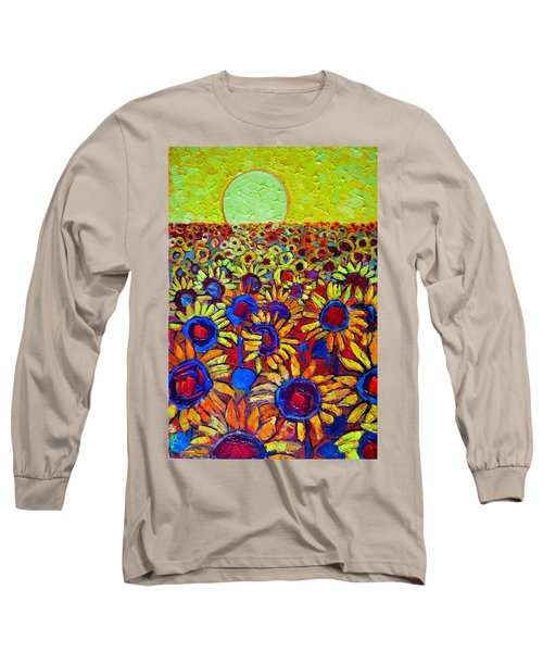 Sunflowers Field At Sunrise Long Sleeve T-Shirt