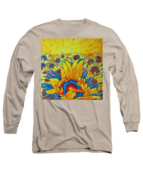 Sunflowers Field In Sunrise Light Long Sleeve T-Shirt