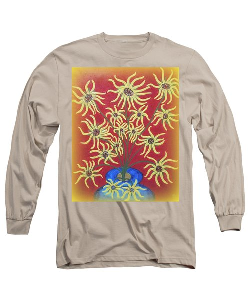 Sunflowers In A Blue Vase Long Sleeve T-Shirt