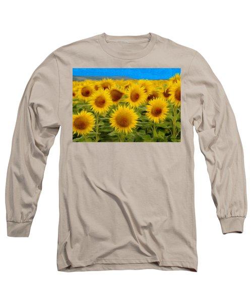 Sunflowers In The Field Long Sleeve T-Shirt by Jeff Kolker