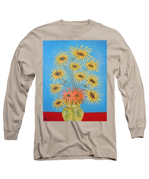 Sunflowers On Blue Long Sleeve T-Shirt by Marie Schwarzer