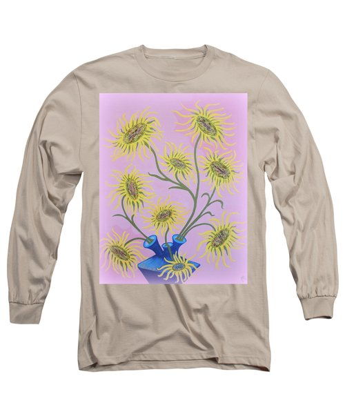Sunflowers On Pink Long Sleeve T-Shirt by Marie Schwarzer