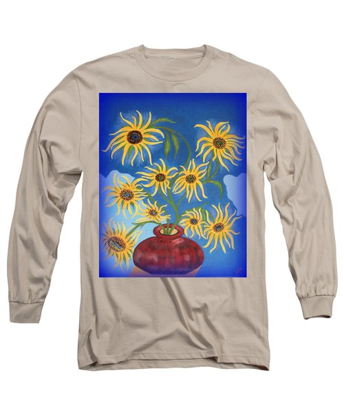 Sunflowers On Navy Blue Long Sleeve T-Shirt by Marie Schwarzer