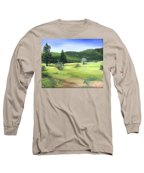 Long Sleeve T-Shirt featuring the painting Sunlit Mountain Meadow by Jane Autry