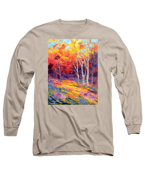 Long Sleeve T-Shirt featuring the painting Sunlit Shadows by Tatiana Iliina
