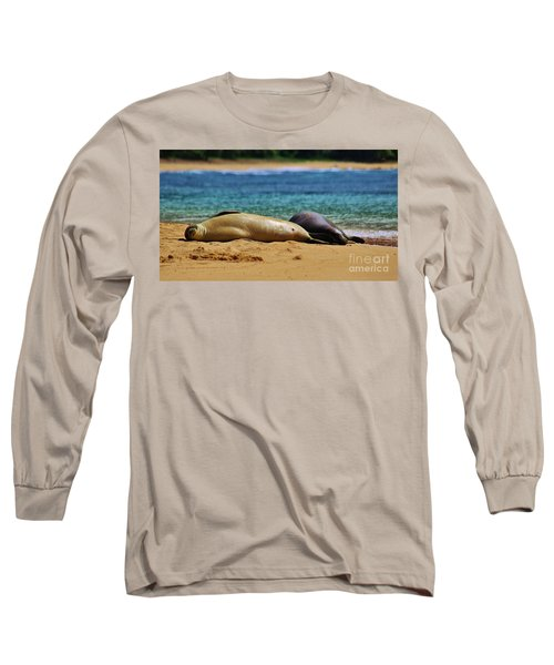 Sunning On The Beach In Hawaii Long Sleeve T-Shirt by Craig Wood